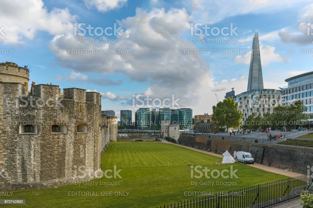 Historic Tower of London and Shard, England, Great Britain stock photo