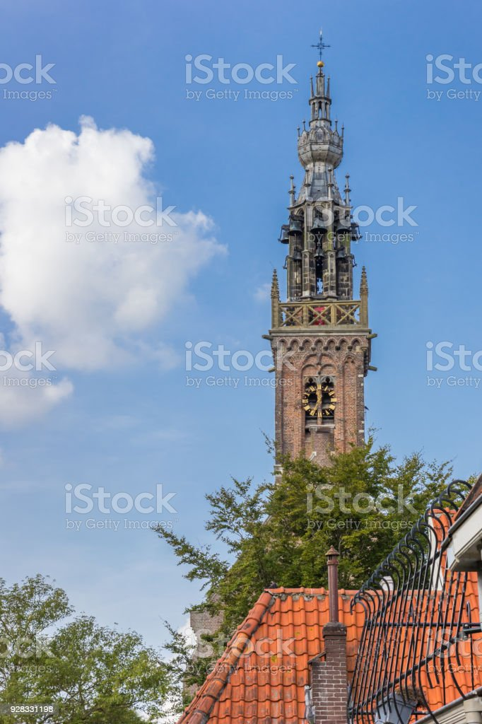 Historic tower of the carillion of Edam, Holland stock photo