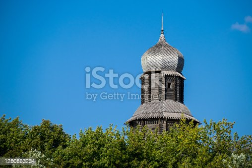 Tower of the town fortress in Tomsk, Russia. Historic place of foundation of Tomsk