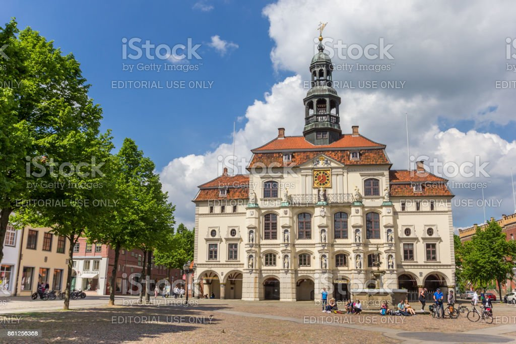 Historic town hall at the market square of Luneburg, Germany Luneburg, Germany - May 21, 2017: Historic town hall at the market square of Luneburg, Germany Architecture Stock Photo
