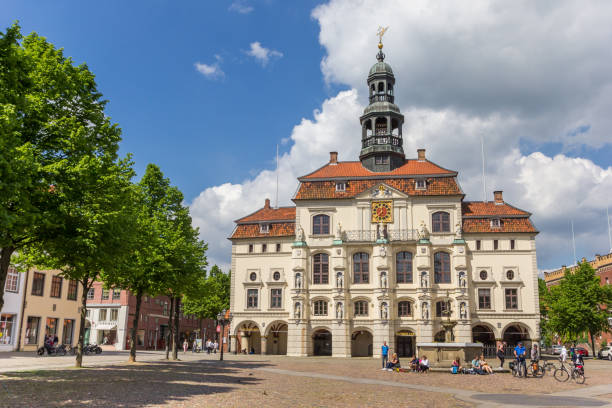 Historic town hall at the market square of Luneburg, Germany Luneburg, Germany - May 21, 2017: Historic town hall at the market square of Luneburg, Germany lüneburg stock pictures, royalty-free photos & images