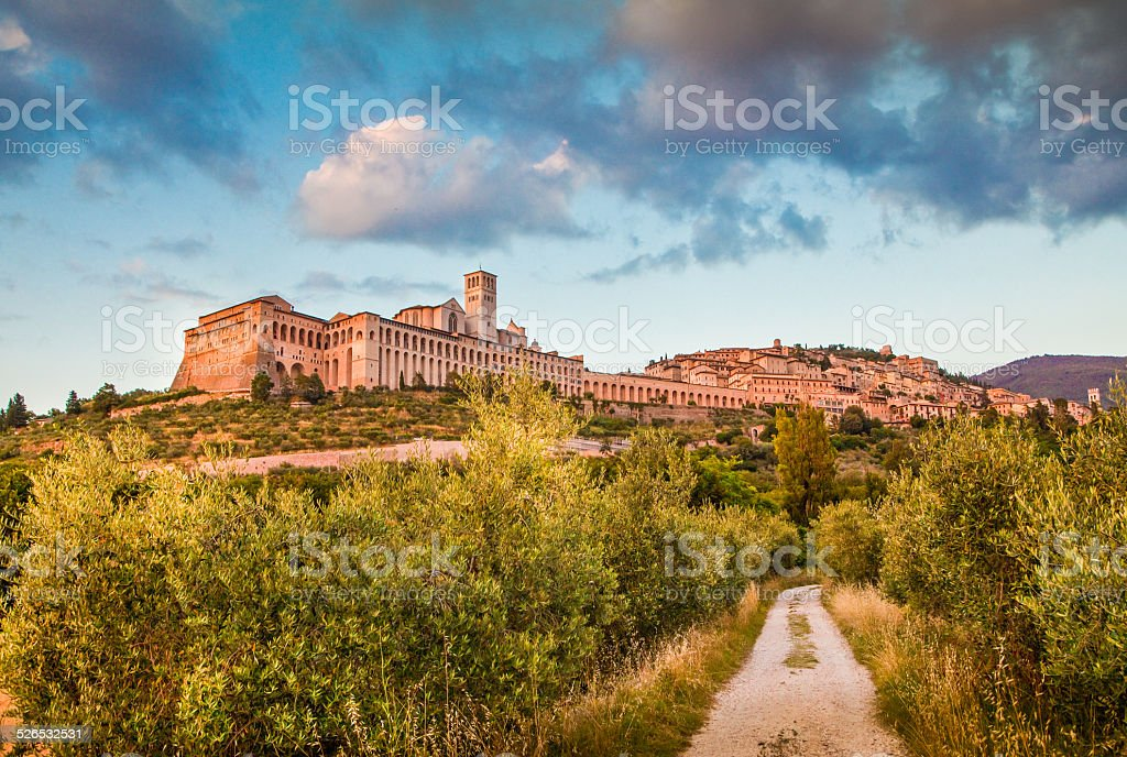 Historic town of Assisi at sunset, Umbria, Italy stock photo