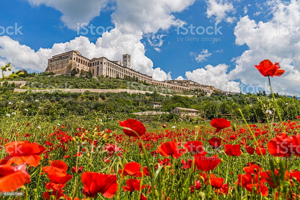 Historic town of Assisi in Italy. Basilica of St. Francis stock photo