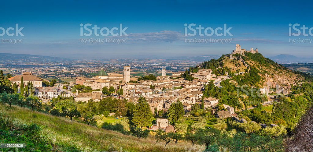 Historic town of Assisi in morning light, Umbria, Italy stock photo
