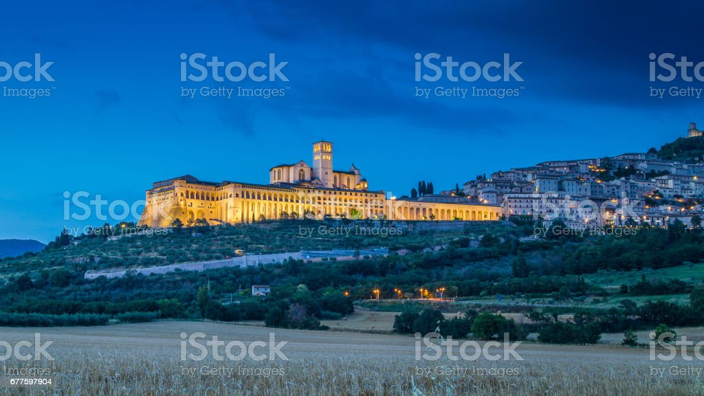 Historic town of Assisi in twilight, Umbria, Italy stock photo