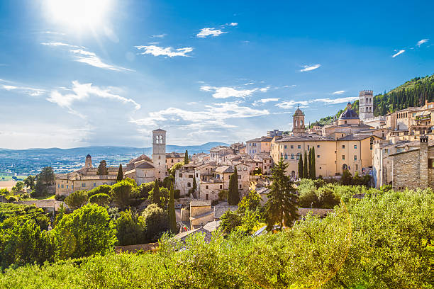 historic town of assisi, umbria, italy - italy stock photos and pictures