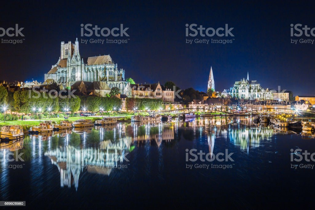 Historic town of Auxerre with Yonne river at night, Burgundy, France - Photo