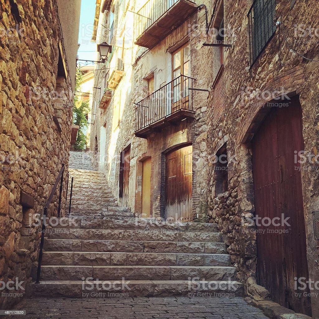 Historic town of Baga in Catalonia stock photo