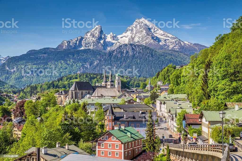 Historische Stadt Berchtesgaden mit Watzmann mountain, Bayern, Deutschland – Foto
