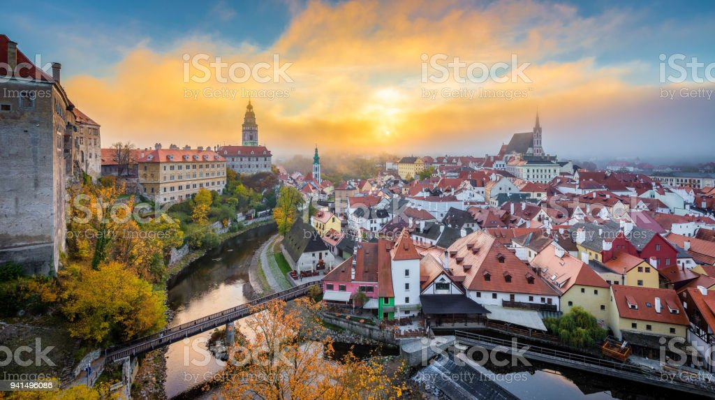 Historic town of Cesky Krumlov at sunrise in fall, Bohemia, Czech Republic stock photo