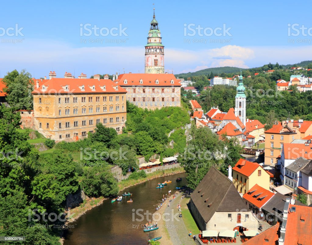Historic town of Cesky Krumlov stock photo