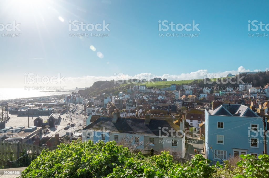 Historic town of Hastings on a clear sunny day stock photo