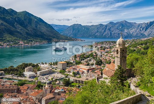 istock Historic town of Kotor with Bay of Kotor in summer, Montenegro 924508532