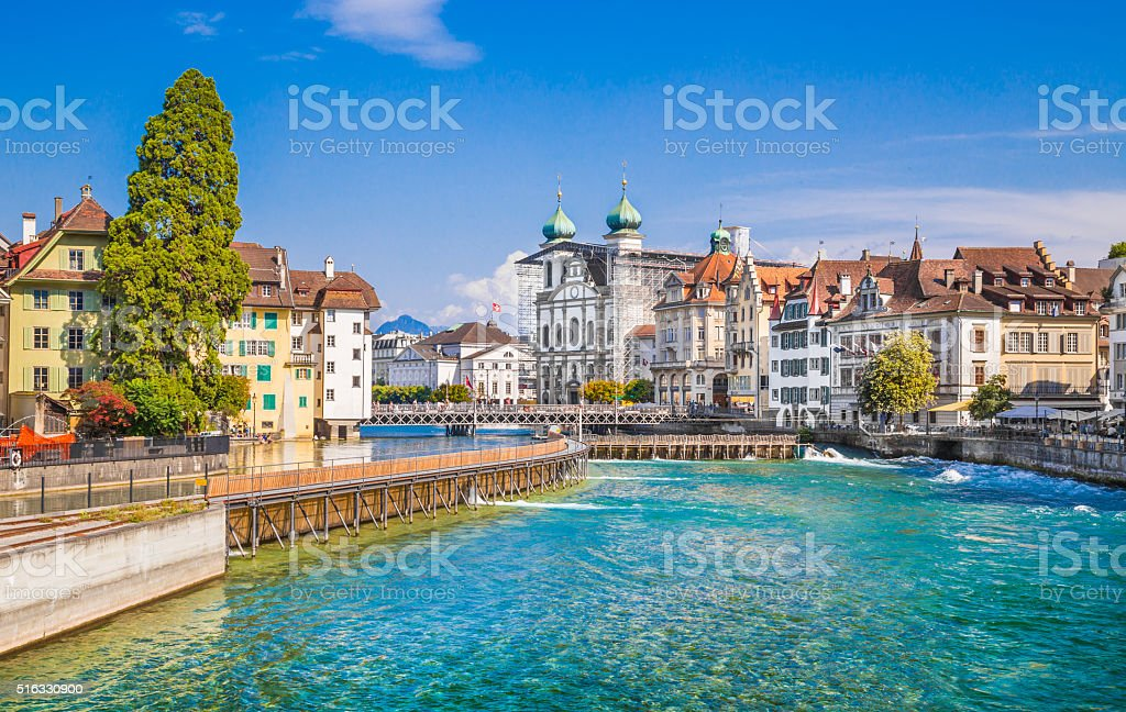 Historic town of Lucerne in summer, Switzerland stock photo