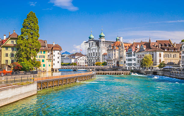 historic town of lucerne in summer, switzerland - lucerne stock pictures, royalty-free photos & images
