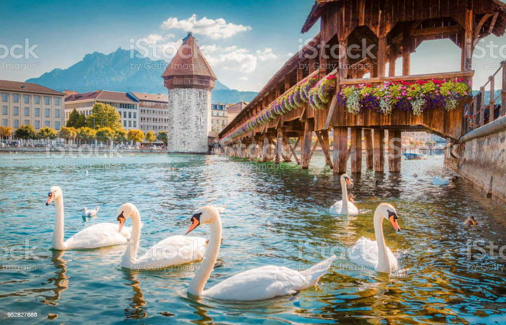 Historic town of Lucerne with famous Chapel Bridge, Switzerland stock photo