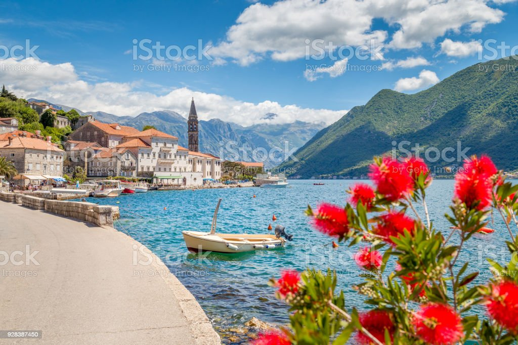 Historic town of Perast at Bay of Kotor in summer, Montenegro stock photo