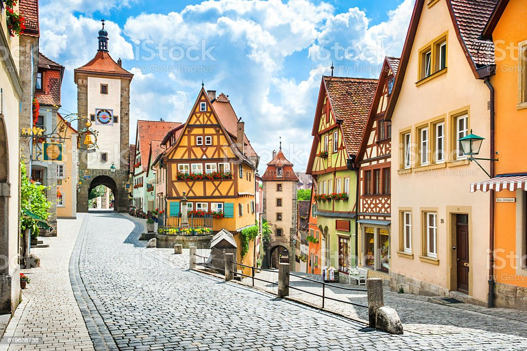 Historic town of Rothenburg ob der Tauber, Franconia, Bavaria, Germany