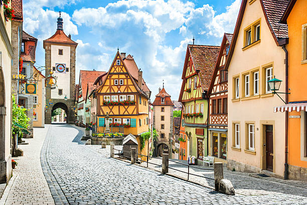 Historic town of Rothenburg ob der Tauber, Franconia, Bavaria, Germany Beautiful postcard view of the famous historic town of Rothenburg ob der Tauber on a sunny day with blue sky and clouds in summer, Franconia, Bavaria, Germany. germany stock pictures, royalty-free photos & images