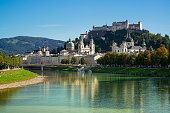Salzburg, Austria. Historic Town of Salzburg with Salzach. Salzburg is the capital city of the State of Salzburg and the fourth-largest city in Austria. Salzburg was the birthplace of the 18th-century composer Wolfgang Amadeus Mozart.