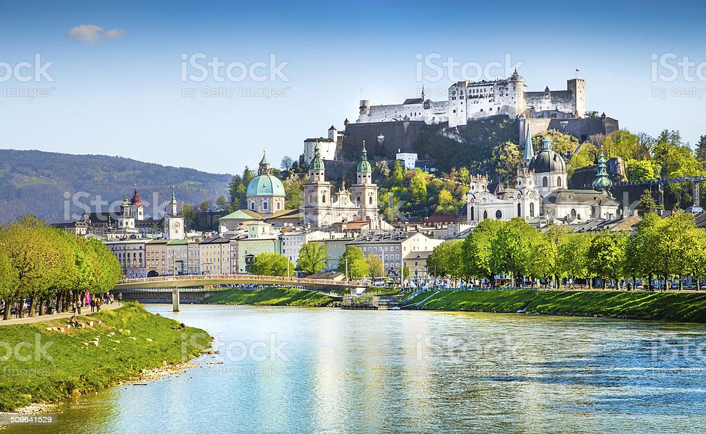Historic town of Salzburg with Salzach river in summer, Austria stock photo