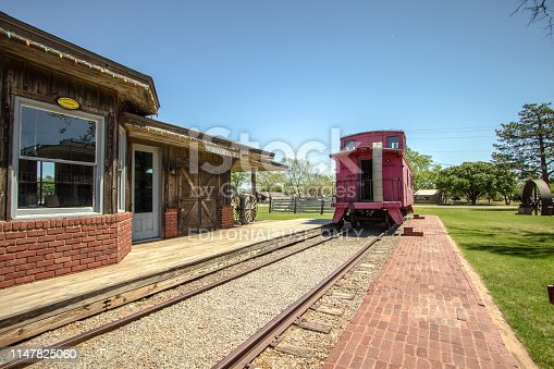 Elk City, Oklahoma, USA - April 27, 2019: Exterior of the historic Elk City train depot in Oklahoma.