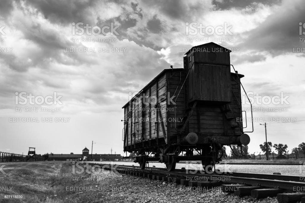 Historic Train On Rails At Concentration Camp Auschwitz Birkenau Kz ...