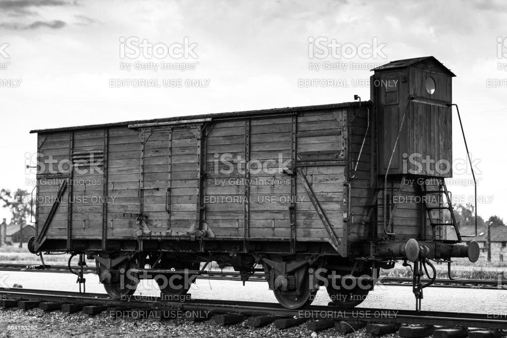 AUSCHWITZ, POLAND - July 11, 2017.Historic Train on rails at concentration camp Auschwitz Birkenau KZ Poland,Part of Auschwitz Concentration Camp royalty-free stock photo