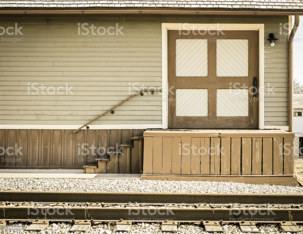 Historic Train Station Depot With Empty Platform In Midwest USA stock photo