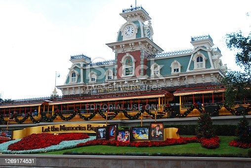 Orlando, FL, USA December 26, 2012 A historic train station in Orlando Florida is decorated for the Christmas holidays