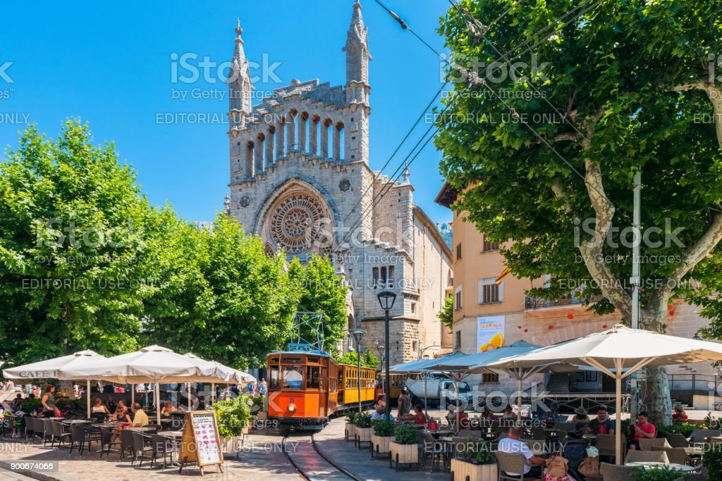 Historic Tram driving in Street of Soller Mallorca Spain stock photo
