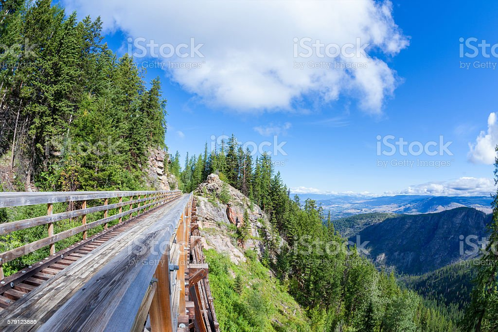 Historic Trestle at Myra Canyon Provincial Park, Canada stock photo