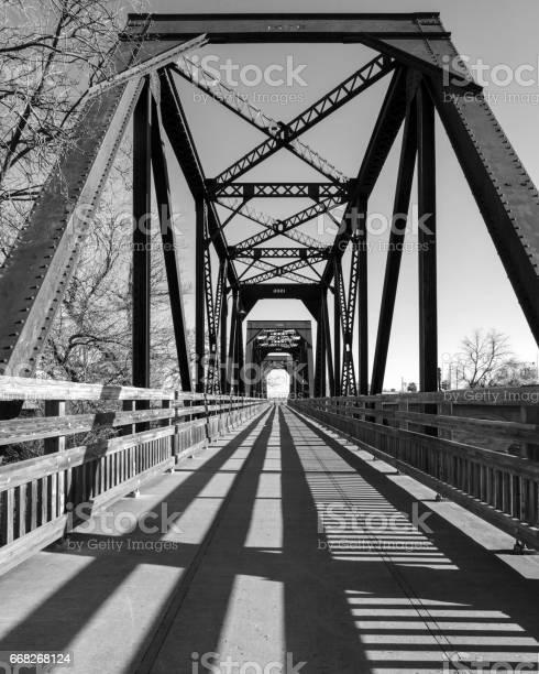 Historic Trestle Train Bridge in black and white