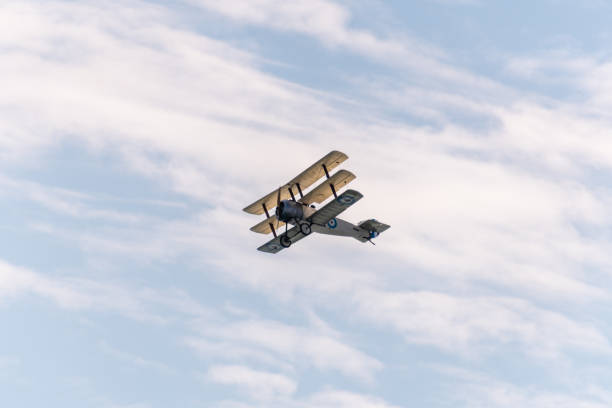Historic triplane aeroplane flies by stock photo