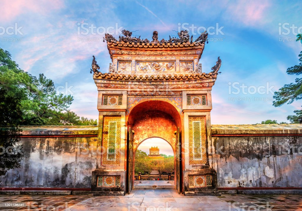 Historic Tu Duc Tomb Historic Tu Duc Tomb in the city of  Hue in Vietnam Ancient Stock Photo