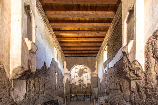 Nogales, Arizona, USA - May 3, 2019: The historic Tumacacori Mission in Arizona is the centerpiece of the Tumacacori National Park near Nogales Arizona. This is a historical structure on national parklands and open to the public it is not a privately owned residence, property or business.