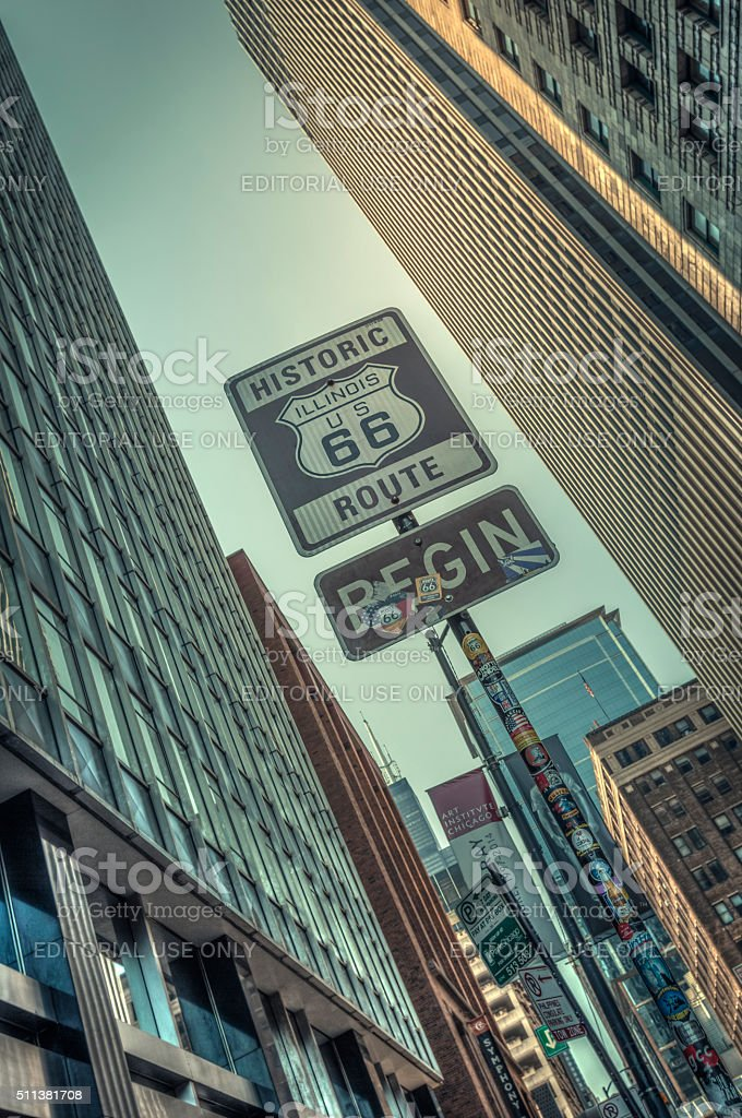 Historic U.S. Route 66 begin sign, downtown Chicago stock photo