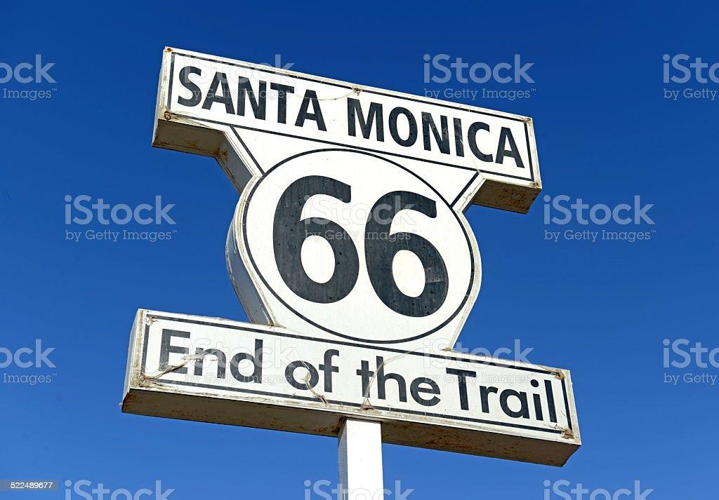 Historic U.S. Route 66 signpost in Santa Monica California stock photo