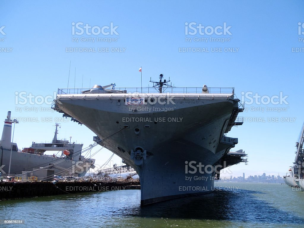 Historic USS Hornet Aircraft Carrier stock photo