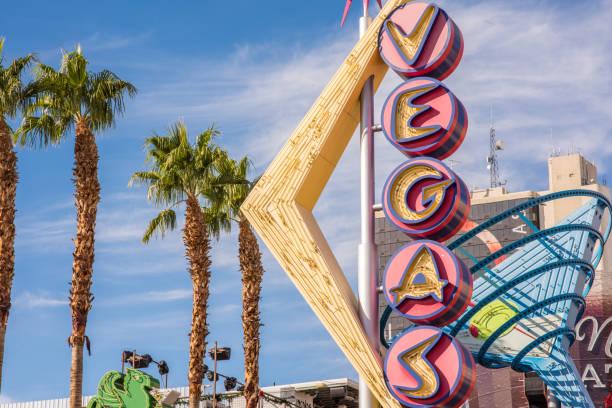 Historic Vegas neon sign above Fremont Street, downtown Las Vegas stock photo