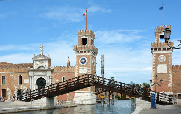 Historic Venetian Arsenal and Naval Museum of Venice - Italy. Historic Venetian Arsenal and Naval Museum in Castello district of Venice - Italy. porta magna stock pictures, royalty-free photos & images
