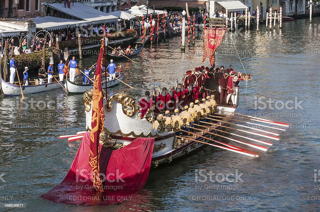 Historic Venetian Warship Joins Procession of Antique Vessels royalty-free stock photo