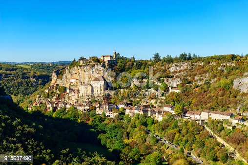 Historic village and castle Rocamadour on the bank of the valley Dordogne in southern France.