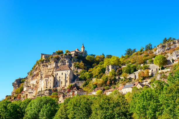 Historic village and castle Rocamadour, France stock photo