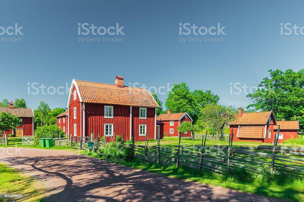 Historic village in Sweden stock photo