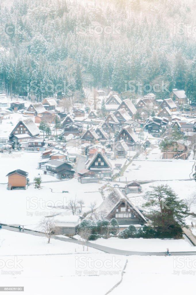 Historic Village of Shirakawa-go in winter, Japan. stock photo