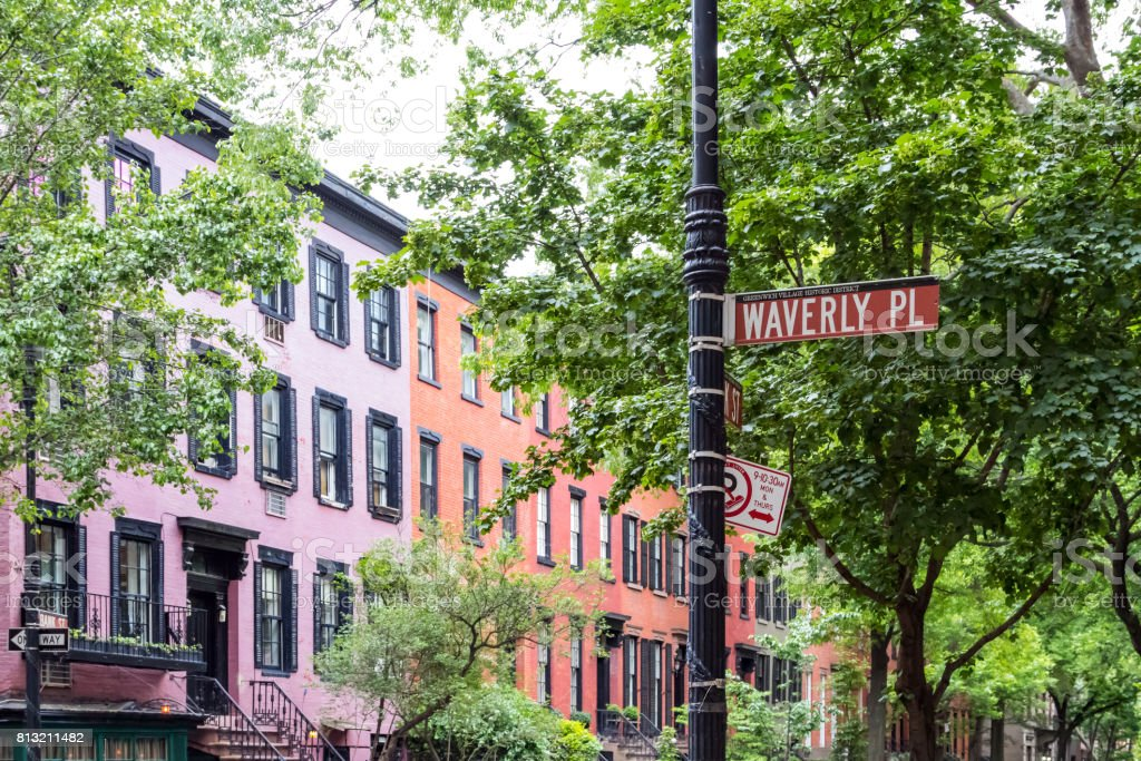 Historic Waverly Place street scene in the West Village neighborhood of Manhattan, New York City NYC stock photo