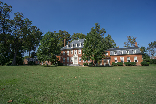 Charles City County, Virginia, October 1, 2020:  Historic Westover Plantation on the bank of the James River