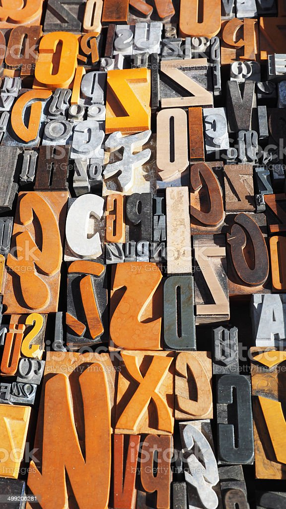 Historic wooden blocks alphabet stock photo