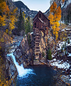 Historic wooden powerhouse called the Crystal Mill in Colorado. It is located on an outcrop above the Crystal River in Crystal ghost town and was built in 1892.
